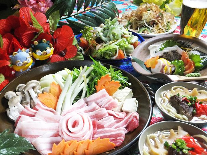 琉球でいご豚特製すきやきコース1